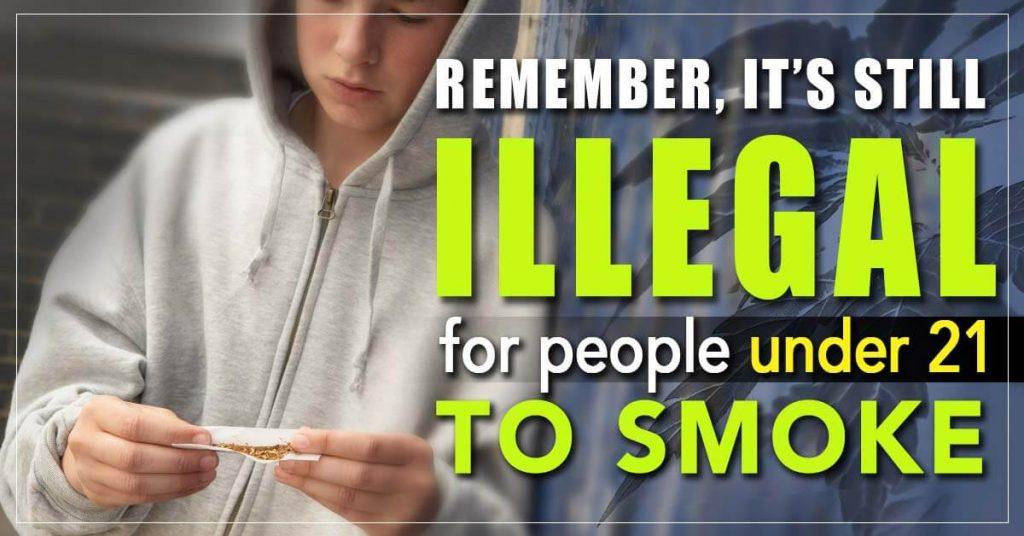 Marijuana laws state it is illegal for minors to smoke