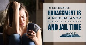 infograph representation of harassment penalties in Colorado